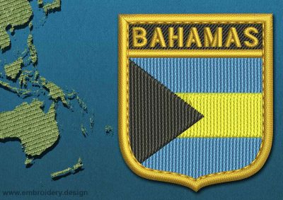 This Flag of Bahamas Shield with a Gold border design was digitized and embroidered by www.embroidery.design.