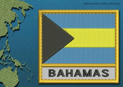This Flag of Bahamas Text with a Gold border design was digitized and embroidered by www.embroidery.design.
