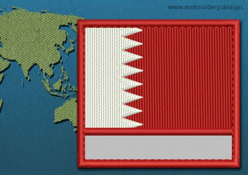 This Flag of Bahrain Customizable Text  with a Colour Coded border design was digitized and embroidered by www.embroidery.design.