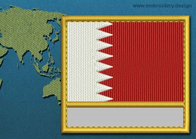 This Flag of Bahrain Customizable Text  with a Gold border design was digitized and embroidered by www.embroidery.design.