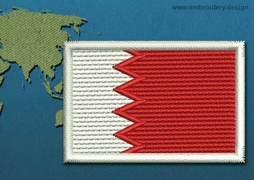 This Flag of Bahrain Mini with a Colour Coded border design was digitized and embroidered by www.embroidery.design.