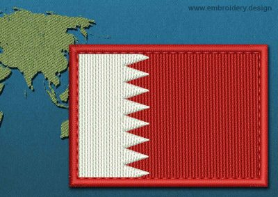 This Flag of Bahrain Rectangle with a Colour Coded border design was digitized and embroidered by www.embroidery.design.