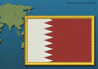 This Flag of Bahrain Rectangle with a Gold border design was digitized and embroidered by www.embroidery.design.