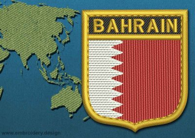 This Flag of Bahrain Shield with a Gold border design was digitized and embroidered by www.embroidery.design.