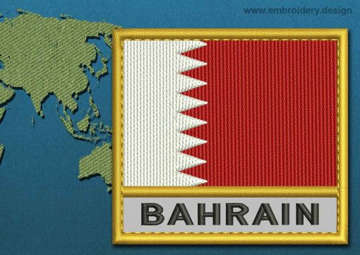 This Flag of Bahrain Text with a Gold border design was digitized and embroidered by www.embroidery.design.