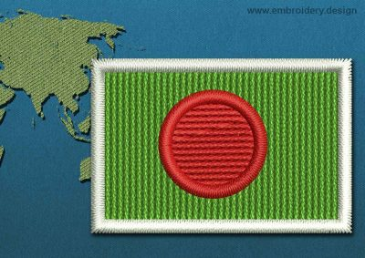 This Flag of Bangladesh Mini with a Colour Coded border design was digitized and embroidered by www.embroidery.design.