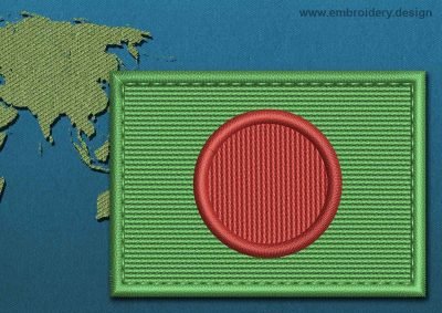 This Flag of Bangladesh Rectangle with a Colour Coded border design was digitized and embroidered by www.embroidery.design.