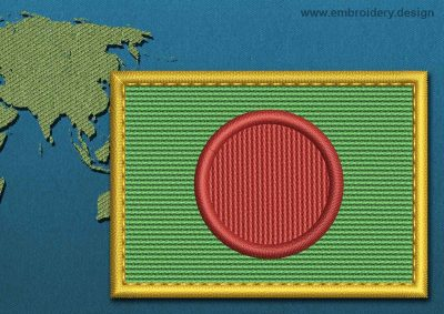 This Flag of Bangladesh Rectangle with a Gold border design was digitized and embroidered by www.embroidery.design.