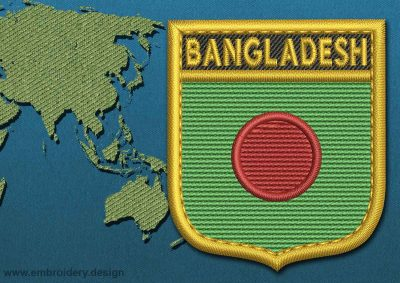 This Flag of Bangladesh Shield with a Gold border design was digitized and embroidered by www.embroidery.design.