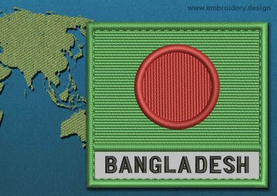 This Flag of Bangladesh Text with a Colour Coded border design was digitized and embroidered by www.embroidery.design.