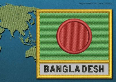 This Flag of Bangladesh Text with a Gold border design was digitized and embroidered by www.embroidery.design.