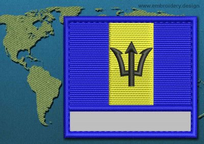 This Flag of Barbados Customizable Text  with a Colour Coded border design was digitized and embroidered by www.embroidery.design.