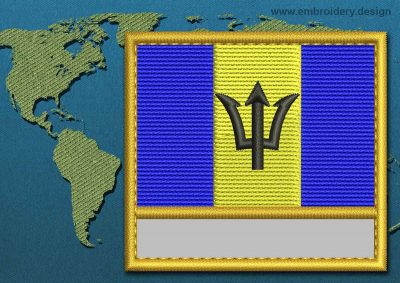 This Flag of Barbados Customizable Text  with a Gold border design was digitized and embroidered by www.embroidery.design.