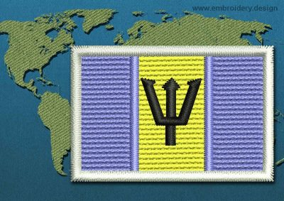 This Flag of Barbados Mini with a Colour Coded border design was digitized and embroidered by www.embroidery.design.