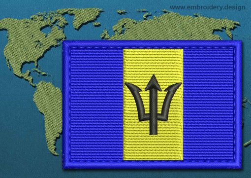 This Flag of Barbados Rectangle with a Colour Coded border design was digitized and embroidered by www.embroidery.design.
