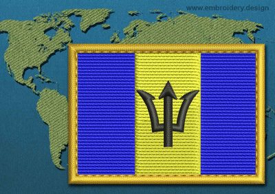 This Flag of Barbados Rectangle with a Gold border design was digitized and embroidered by www.embroidery.design.