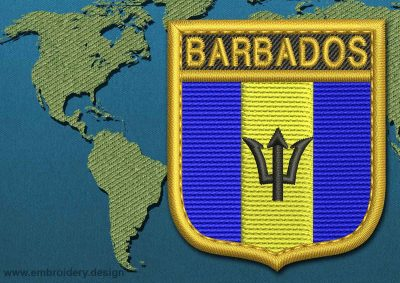 This Flag of Barbados Shield with a Gold border design was digitized and embroidered by www.embroidery.design.