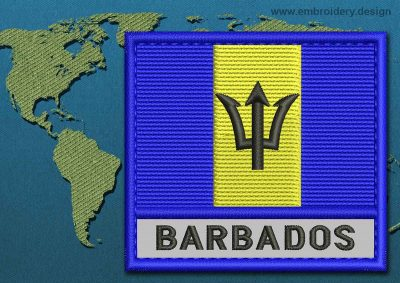 This Flag of Barbados Text with a Colour Coded border design was digitized and embroidered by www.embroidery.design.