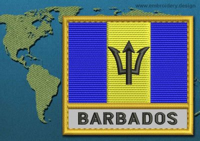 This Flag of Barbados Text with a Gold border design was digitized and embroidered by www.embroidery.design.