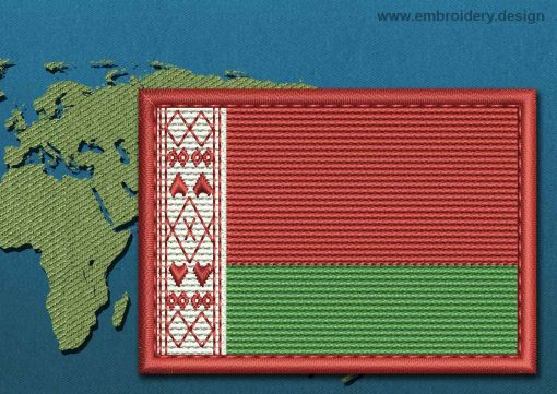 This Flag of Belarus Rectangle with a Colour Coded border design was digitized and embroidered by www.embroidery.design.