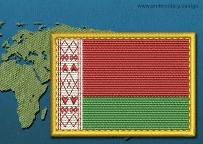 This Flag of Belarus Rectangle with a Gold border design was digitized and embroidered by www.embroidery.design.