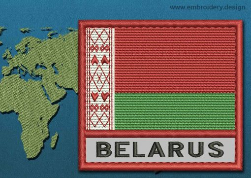 This Flag of Belarus Text with a Colour Coded border design was digitized and embroidered by www.embroidery.design.