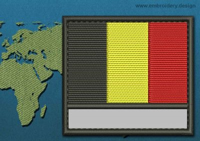 This Flag of Belgium Customizable Text  with a Colour Coded border design was digitized and embroidered by www.embroidery.design.