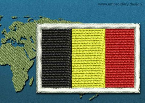 This Flag of Belgium Mini with a Colour Coded border design was digitized and embroidered by www.embroidery.design.