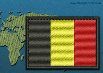 This Flag of Belgium Rectangle with a Colour Coded border design was digitized and embroidered by www.embroidery.design.