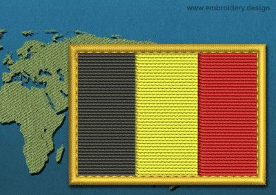 This Flag of Belgium Rectangle with a Gold border design was digitized and embroidered by www.embroidery.design.