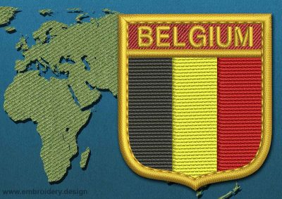 This Flag of Belgium Shield with a Gold border design was digitized and embroidered by www.embroidery.design.