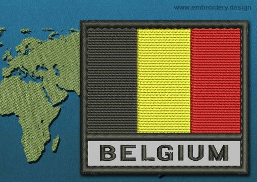 This Flag of Belgium Text with a Colour Coded border design was digitized and embroidered by www.embroidery.design.