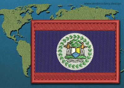 This Flag of Belize Rectangle with a Colour Coded border design was digitized and embroidered by www.embroidery.design.