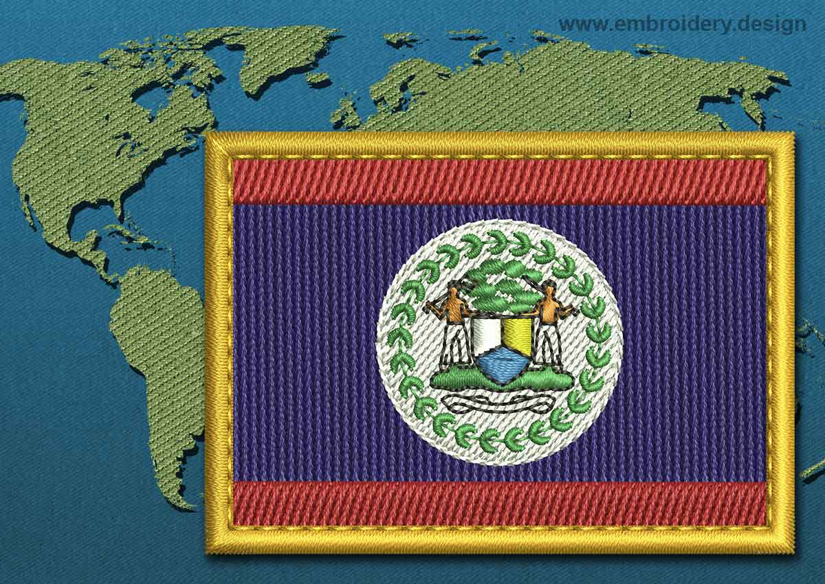 belize rectangle flag embroidery design with a gold border