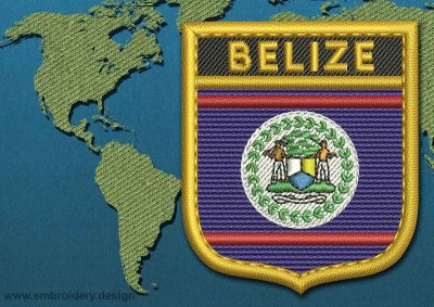 This Flag of Belize Shield with a Gold border design was digitized and embroidered by www.embroidery.design.