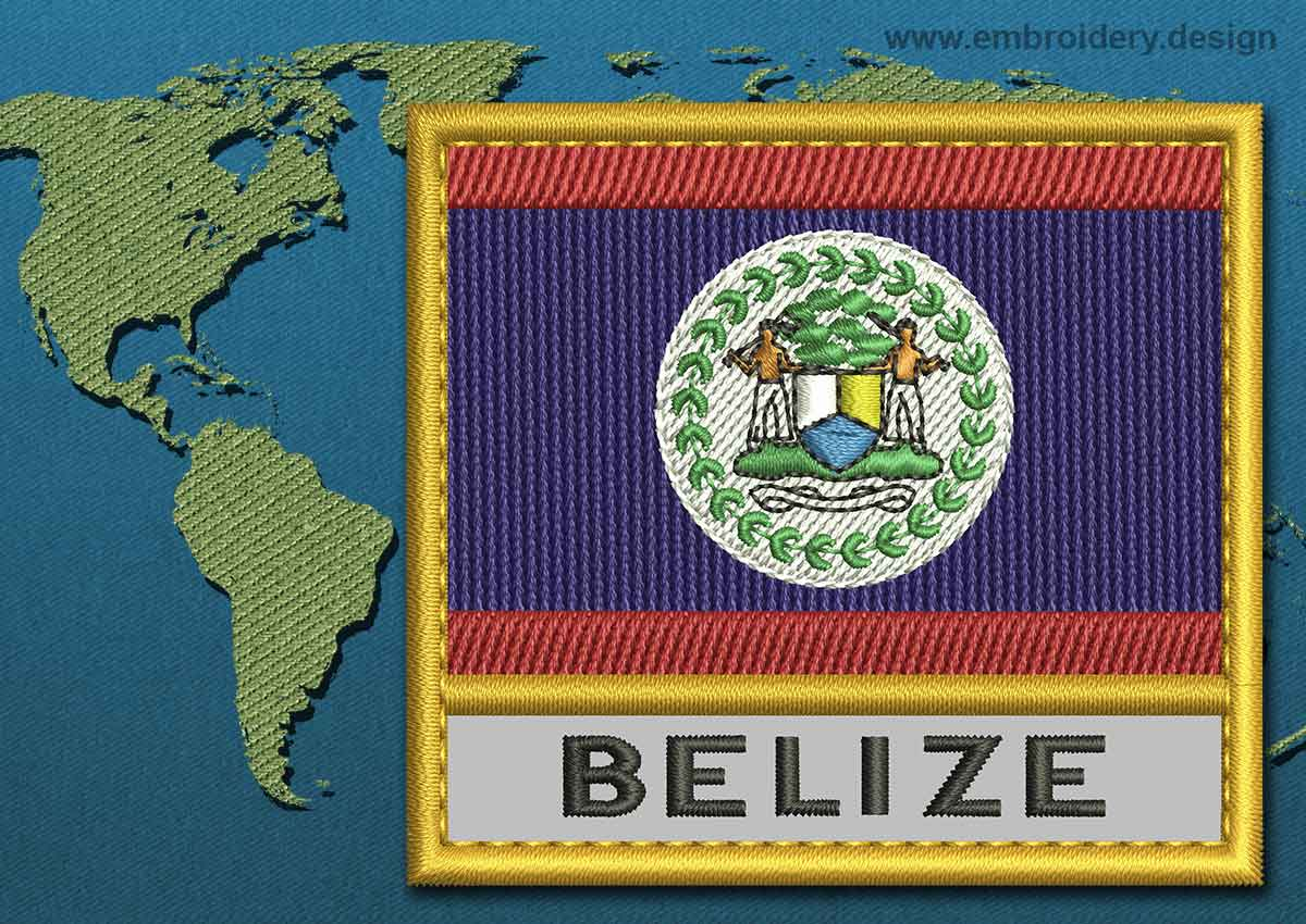 belize text flag embroidery design with a gold border