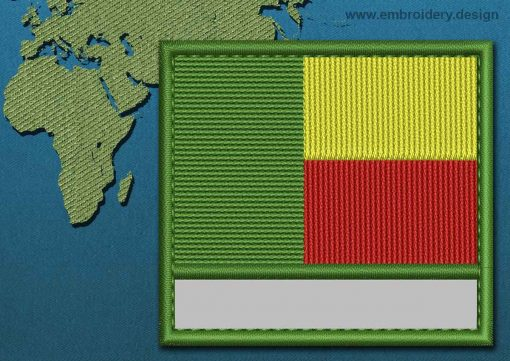 This Flag of Benin Customizable Text  with a Colour Coded border design was digitized and embroidered by www.embroidery.design.