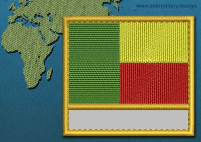 This Flag of Benin Customizable Text  with a Gold border design was digitized and embroidered by www.embroidery.design.