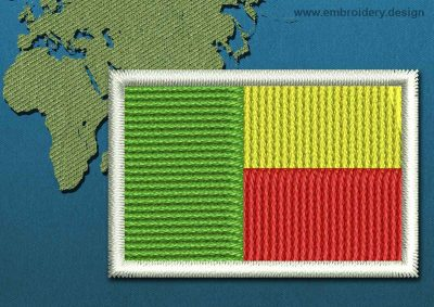 This Flag of Benin Mini with a Colour Coded border design was digitized and embroidered by www.embroidery.design.