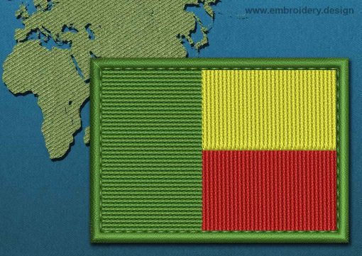 This Flag of Benin Rectangle with a Colour Coded border design was digitized and embroidered by www.embroidery.design.