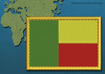 This Flag of Benin Rectangle with a Gold border design was digitized and embroidered by www.embroidery.design.