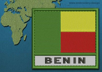 This Flag of Benin Text with a Colour Coded border design was digitized and embroidered by www.embroidery.design.