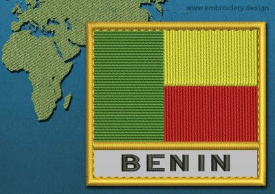 This Flag of Benin Text with a Gold border design was digitized and embroidered by www.embroidery.design.