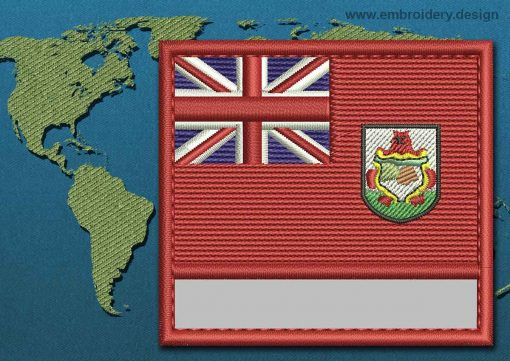 This Flag of Bermuda Customizable Text  with a Colour Coded border design was digitized and embroidered by www.embroidery.design.
