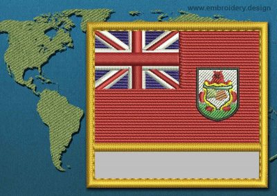 This Flag of Bermuda Customizable Text  with a Gold border design was digitized and embroidered by www.embroidery.design.