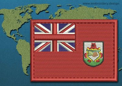 This Flag of Bermuda Rectangle with a Colour Coded border design was digitized and embroidered by www.embroidery.design.