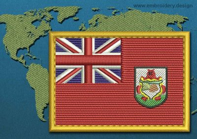 This Flag of Bermuda Rectangle with a Gold border design was digitized and embroidered by www.embroidery.design.