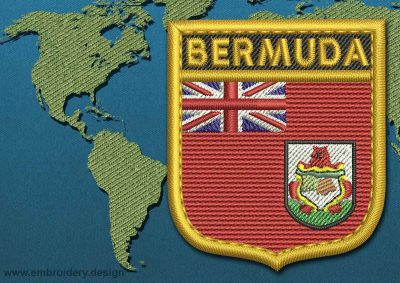 This Flag of Bermuda Shield with a Gold border design was digitized and embroidered by www.embroidery.design.