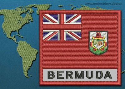 This Flag of Bermuda Text with a Colour Coded border design was digitized and embroidered by www.embroidery.design.