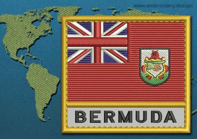 This Flag of Bermuda Text with a Gold border design was digitized and embroidered by www.embroidery.design.